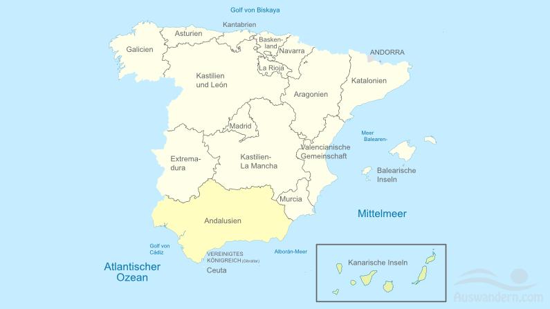 Andalusien – Informationen, Klima, Lage, Städte, Sehenswürdigkeiten