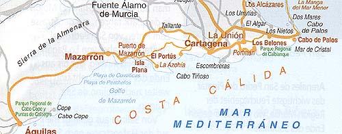 Los Belones, Mazarron, Aguilas, Ausflüge u. Routen